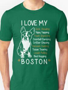 i love boston terrier Unisex T-Shirt