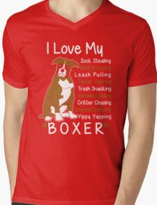i love my boxer Mens V-Neck T-Shirt