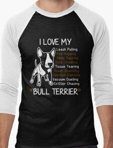 i love my bull terrier Men's Baseball ¾ T-Shirt