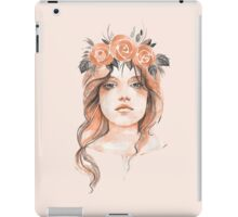 Portrait of a young girl in floral wreath iPad Case/Skin