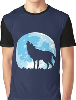 Howling Wolf At Full Moon Graphic T-Shirt