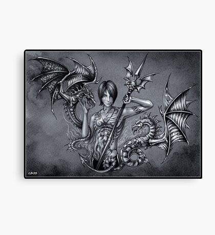 Spear and dragons Canvas Print