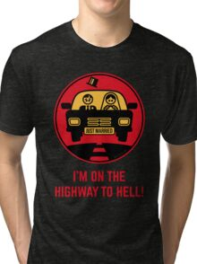 Just Married – I'm On The Highway To Hell (3C) Tri-blend T-Shirt