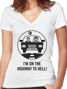 Just Married – I'm On The Highway To Hell (1C) Women's Fitted V-Neck T-Shirt