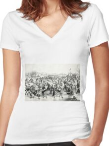 Central Park, Winter - The skating pond - 1862 - Currier & Ives Women's Fitted V-Neck T-Shirt