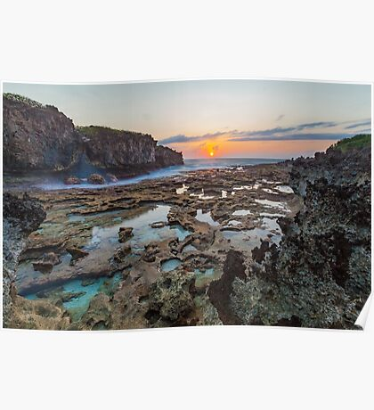 Sunrise over the Rockpools Poster
