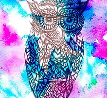 Floral owl illustration pink blue watercolor by GirlyTrend