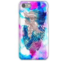 Floral owl illustration pink blue watercolor iPhone Case/Skin