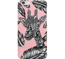 Cute black white floral giraffe pink illustration iPhone Case/Skin