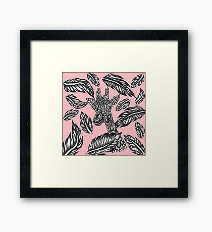 Cute black white floral giraffe pink illustration Framed Print