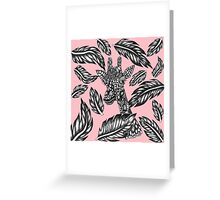 Cute black white floral giraffe pink illustration Greeting Card