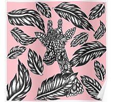 Cute black white floral giraffe pink illustration Poster