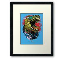 Tyrannosaurus Rex Chillin' With Headphones Framed Print