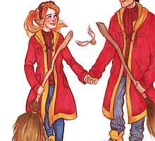 Quidditch Harry and Ginny by susannesart