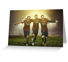 Messi, Suárez and Neymar Greeting Card