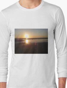 Seagulls at sunset beach Long Sleeve T-Shirt