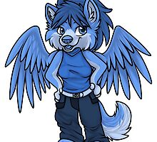 Blu the Winged Elemental Wolf by werepuppy
