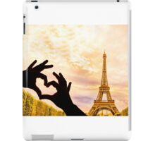 The Eiffel Tower in Paris and hands in a heart shape iPad Case/Skin