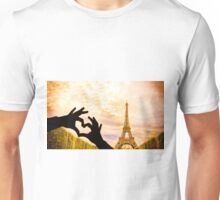 The Eiffel Tower in Paris and hands in a heart shape Unisex T-Shirt