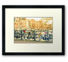 Amsterdam canal and bicycles Framed Print