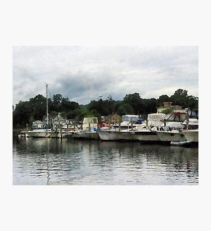 Boats On A Cloudy Day Essex CT Photographic Print