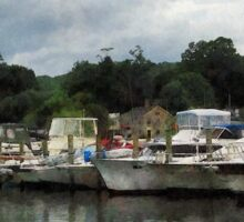 Boats On A Cloudy Day Essex CT Sticker