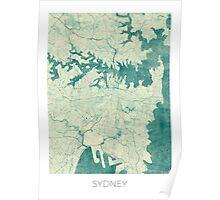 Sydney Map Blue Vintage Poster