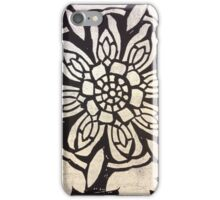 Black and White Floral Print - Lino Etching iPhone Case/Skin