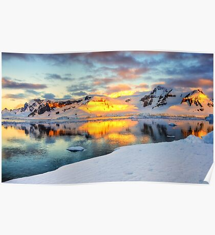 Antarctic Sunset Poster