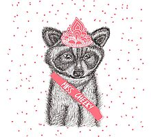 Funny girly raccoon illustration pink tiara Photographic Print