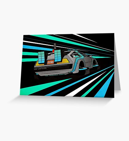 Delorean Time Flux - Blue Greeting Card