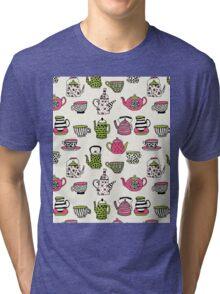 Teapot teatime british tea party tea kettle andrea lauren  Tri-blend T-Shirt