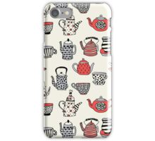 Teapot teatime british tea party tea kettle andrea lauren thermos mug tea cups teas iPhone Case/Skin