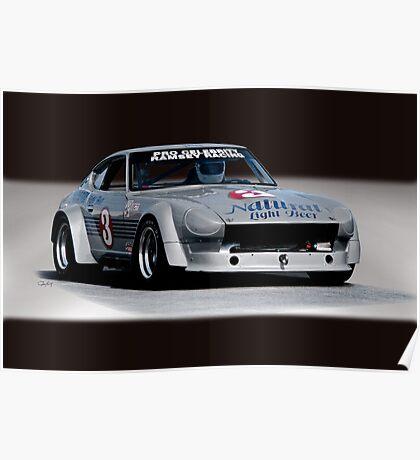 1973 Datsun 240Z GT Vintage Race Car Poster
