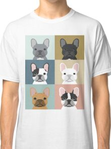 French Bulldog portraits pattern dog person gift love animal pet puppy frenchie bulldog valentines Classic T-Shirt