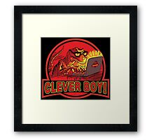 Clever Boy Velociraptor Dinosaur Humor Framed Print
