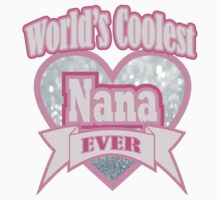 Cute Grey Pink Typography World's Coolest Nana  Kids Tee
