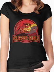 Clever Girl Velociraptor Dinosaur Humor Women's Fitted Scoop T-Shirt