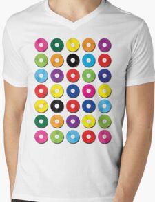 Music Vinyl Record Spots Sml Mens V-Neck T-Shirt