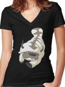 APPA SKY BISON Japanese Anime, Flying, The Last Airbender Avatar Women's Fitted V-Neck T-Shirt