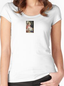 Celebrate Childhood Making Christmas Cookies Victorian Designs by Kirsten Women's Fitted Scoop T-Shirt
