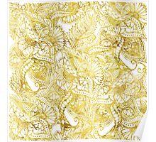 Elegant chic gold foil hand drawn floral pattern Poster