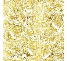 Elegant chic gold foil hand drawn floral pattern Photographic Print