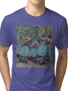 Edgar Degas - Three Dancers Blue Tutus, Red Bodices Impressionism  ballerina dancer Tri-blend T-Shirt