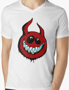 Happy Demon Mens V-Neck T-Shirt