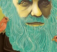 Charles Darwin and his Finches Sticker