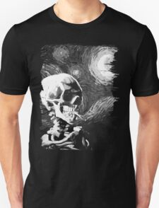 Skull with burning cigarette on a Starry Night BW Unisex T-Shirt