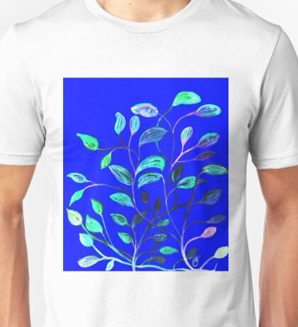 Blue Night's Red and Green Leaves! Unisex T-Shirt