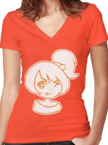Cute Anime Girl - Wink Women's Fitted V-Neck T-Shirt