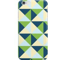 Navy Blue Lime Blue Cream Geometric Triangles Pattern iPhone Case/Skin